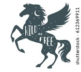 wild and free. horse silhouette ... | Shutterstock .eps vector #612369911