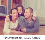 happy smiling little girl with...   Shutterstock . vector #612372839