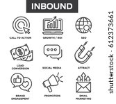 inbound marketing vector icons... | Shutterstock .eps vector #612373661