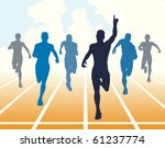Editable vector illustration of men finishing a sprint race - stock vector