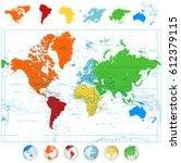 detailed vector world map with... | Shutterstock .eps vector #612379115