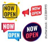 now open. badge  icon  logo set.... | Shutterstock .eps vector #612384995