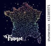 france. map. constellation.... | Shutterstock .eps vector #612385571