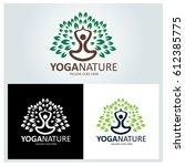 yoga nature logo design... | Shutterstock .eps vector #612385775