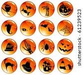 set of 16 orange halloween... | Shutterstock . vector #61239523