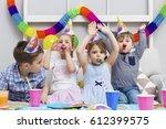 happy group of children having... | Shutterstock . vector #612399575