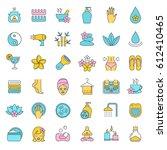 spa salon color icons set.... | Shutterstock .eps vector #612410465
