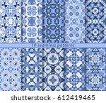 ten classic seamless blue... | Shutterstock .eps vector #612419465