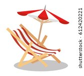 beach chair with umbrella | Shutterstock .eps vector #612420221