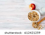 breakfast bowl of fruit and nut ... | Shutterstock . vector #612421259