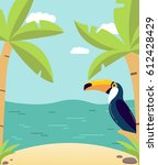 poster with the beach and a... | Shutterstock .eps vector #612428429