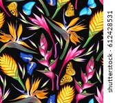 tropical flowers seamless | Shutterstock .eps vector #612428531