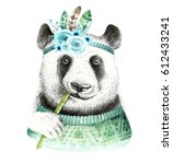 watercolor panda illustration.... | Shutterstock . vector #612433241