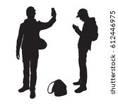 silhouettes of a teenager... | Shutterstock .eps vector #612446975