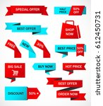 vector stickers  price tag ... | Shutterstock .eps vector #612450731