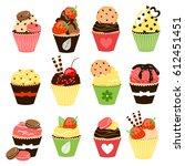 sweet cupcakes set. vector... | Shutterstock .eps vector #612451451
