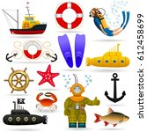 marine set of objects and... | Shutterstock .eps vector #612458699