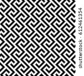 black and white meander pixel... | Shutterstock .eps vector #612461354