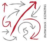hand drawn arrows in black.... | Shutterstock .eps vector #612463961