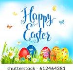vector happy ester background | Shutterstock .eps vector #612464381