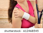 shot of a tennis player with a... | Shutterstock . vector #612468545