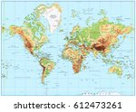 detailed physical world map... | Shutterstock .eps vector #612473261