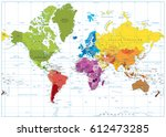 detailed world map spot colored ... | Shutterstock .eps vector #612473285