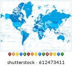 world map in colors of blue and ...   Shutterstock .eps vector #612473411