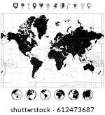 black world map and navigation... | Shutterstock .eps vector #612473687