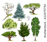 forms of tree crowns | Shutterstock .eps vector #612475754