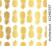 vector gold white pineapples... | Shutterstock .eps vector #612482537