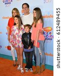 Small photo of LOS ANGELES, CA. March 11, 2017: Businessman Mark Cuban & wife Tiffany Stewart & children Alyssa, Jake & Alexis at the Nickelodeon 2017 Kids' Choice Awards at the USC's Galen Centre, Los Angeles