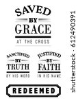 saved by grace at the cross... | Shutterstock .eps vector #612490391