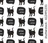 Stock vector cat bombay vector illustration seamless pattern with banner meow meow 612491231