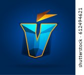 letter v design shield.... | Shutterstock .eps vector #612494621