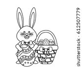 figure rabbit easter with eggs...   Shutterstock .eps vector #612507779