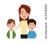 mother with her kids | Shutterstock .eps vector #612528305
