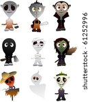 9 vector popular halloween... | Shutterstock .eps vector #61252996