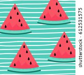 watermelon with hand stripe... | Shutterstock .eps vector #612531575