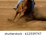 Small photo of A close up of a horse and rider with dirt flying.