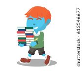 blue boy carrying many books | Shutterstock . vector #612546677