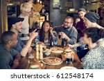 diverse people hang out pub... | Shutterstock . vector #612548174