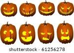 halloween jack o lanterns | Shutterstock .eps vector #61256278