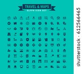 travel and maps glyph icon set