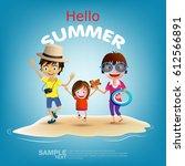 vector family card. summer... | Shutterstock .eps vector #612566891
