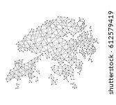map of hong kong from polygonal ... | Shutterstock .eps vector #612579419