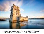 lisbon   belem tower   tagus... | Shutterstock . vector #612580895