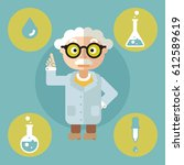 icon science set flat scientist ... | Shutterstock .eps vector #612589619