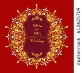 wedding invitation or card with ... | Shutterstock .eps vector #612625709