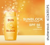 sun protection cosmetic product ... | Shutterstock .eps vector #612630191
